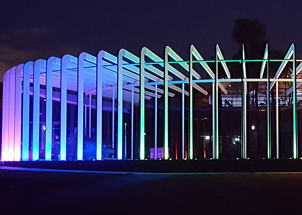 The Calyx is transformed at night by 76 colour changing up-lights