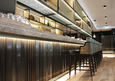 Curved bar seating areas Four Seasons Hotel Refurbishment